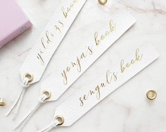 Personalised Leather Bookmark White Gold