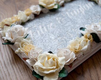 Floral Glitter Cut Out Guestbook