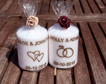 Personalised  Engraved Candles with Rose Wedding Favours
