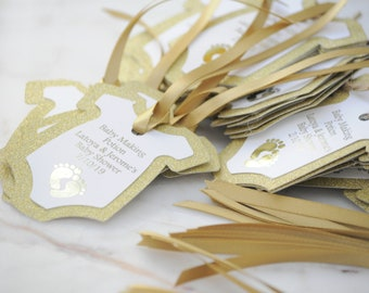 10x Baby Making Potion Gold Foil Glitter Thank You Baby Shower Tags/Gift Tags