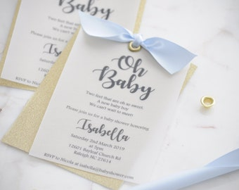 Gold Glitter Oh Baby Invite with Bow