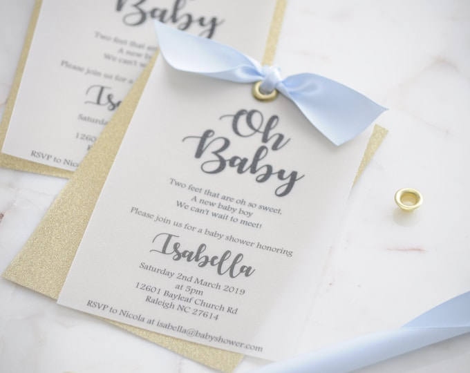 Featured listing image: Gold Glitter Oh Baby Invite with Bow