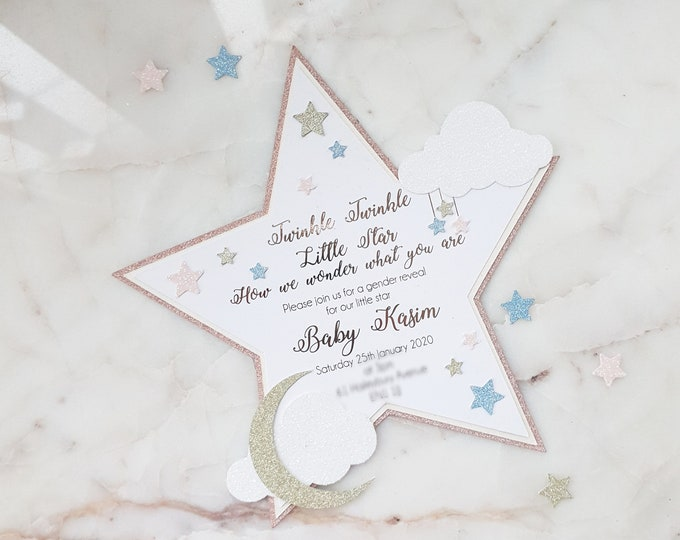 Featured listing image: Twinkle Twinkle Little Star Gender Reveal Invitation