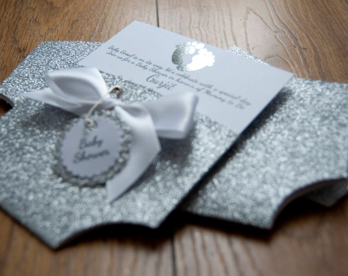 Featured listing image: Silver Glitter & Foil Baby Shower Nappy/Diaper Invitation