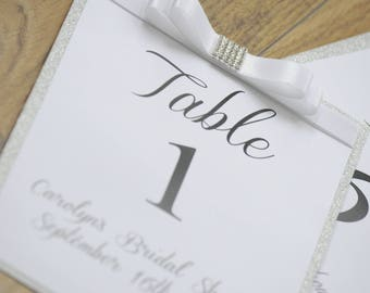 Bridal Shower Silver Glitter Bow Table Numbers