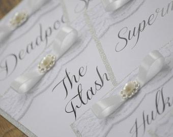 Silver Glitter & Vintage Embellishment Table Number Names
