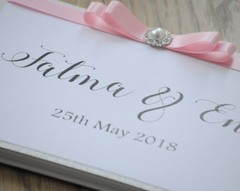 Simple Glitter & Pink Bow Embellishment Guestbook Weddings/Engagements/Special Occasions