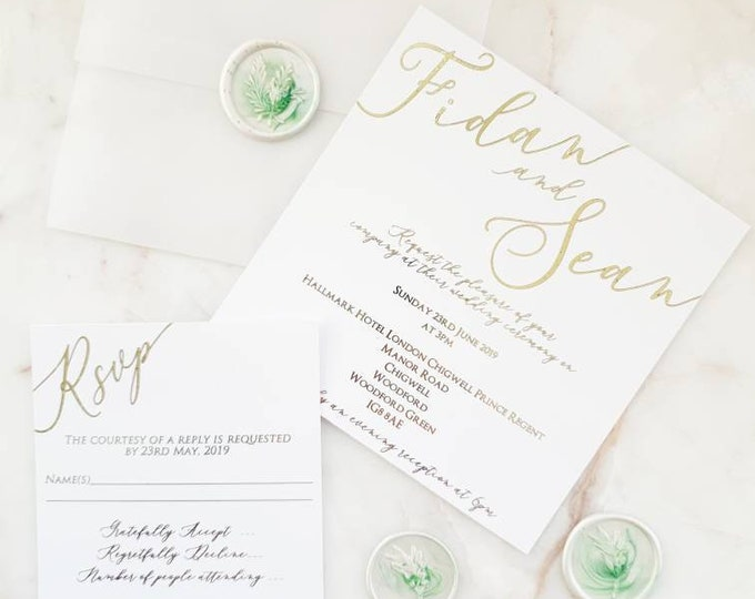Featured listing image: Simple Vellum Calligraphy Gold Foil Marble White Green Wax & Seal Wedding Invitations