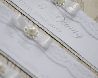 Silver Glitter Bow Table Plan With Embellishment- To Fit A3 Frame Self Assemble