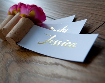 Floral Corkscrew Foiled Place Settings/Name Cards