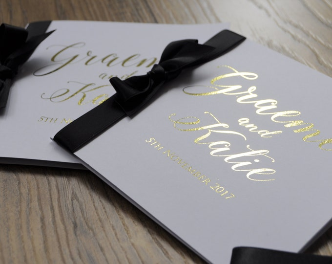 Featured listing image: Simple Gold Foil Ribbon Bow Invitation