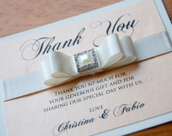 Thank You Card with Bow Ribbon & Embellishment