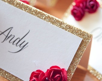 10x Personalised Glitter Sparkle Table Names with Paper Roses