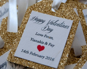 10x Gold Glitter Favour Tags with Ribbon