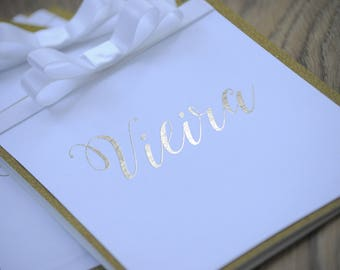 Gold Glitter &  Foil Calligraphy Table Numbers