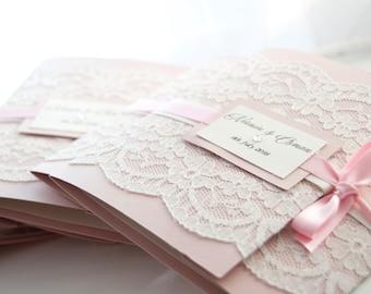Dusty Pink Cream Lace Wedding Invitation