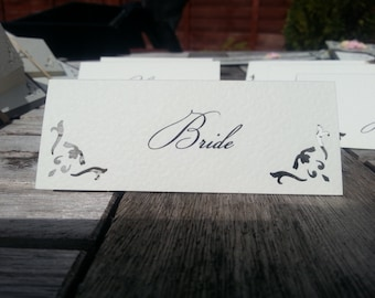 10x Vintage Inspired Personalised Decor Name Cards/ Place Settings