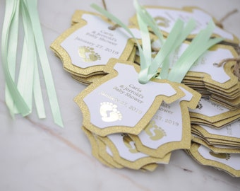 10x Gold Foil Glitter and Mint Green Thank You Baby Shower Tags/Gift Tags