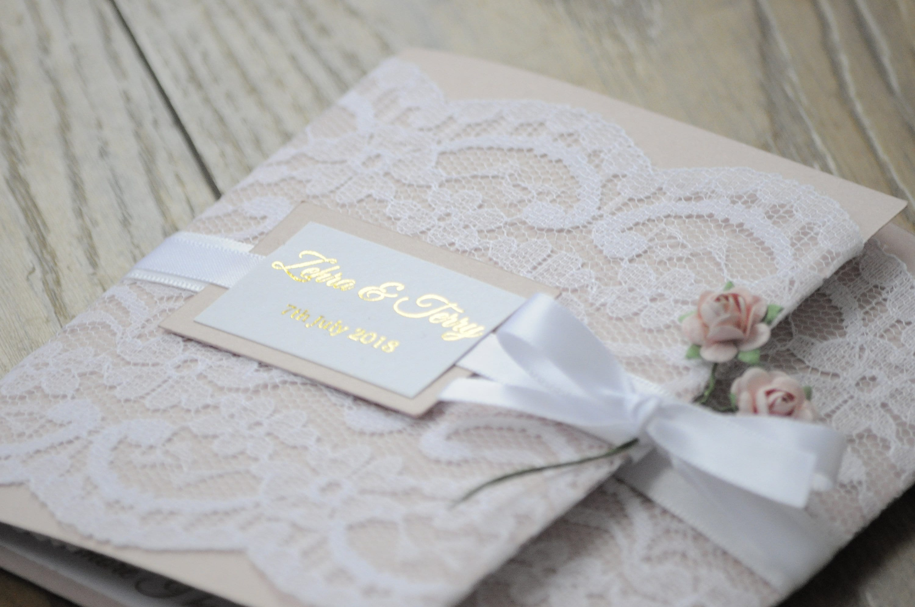 Gold Foil Dusty Pink Lace Wedding Invitation