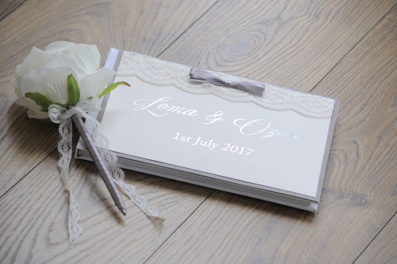 Grey Silver Foil  Guestbook with Handmade Pen