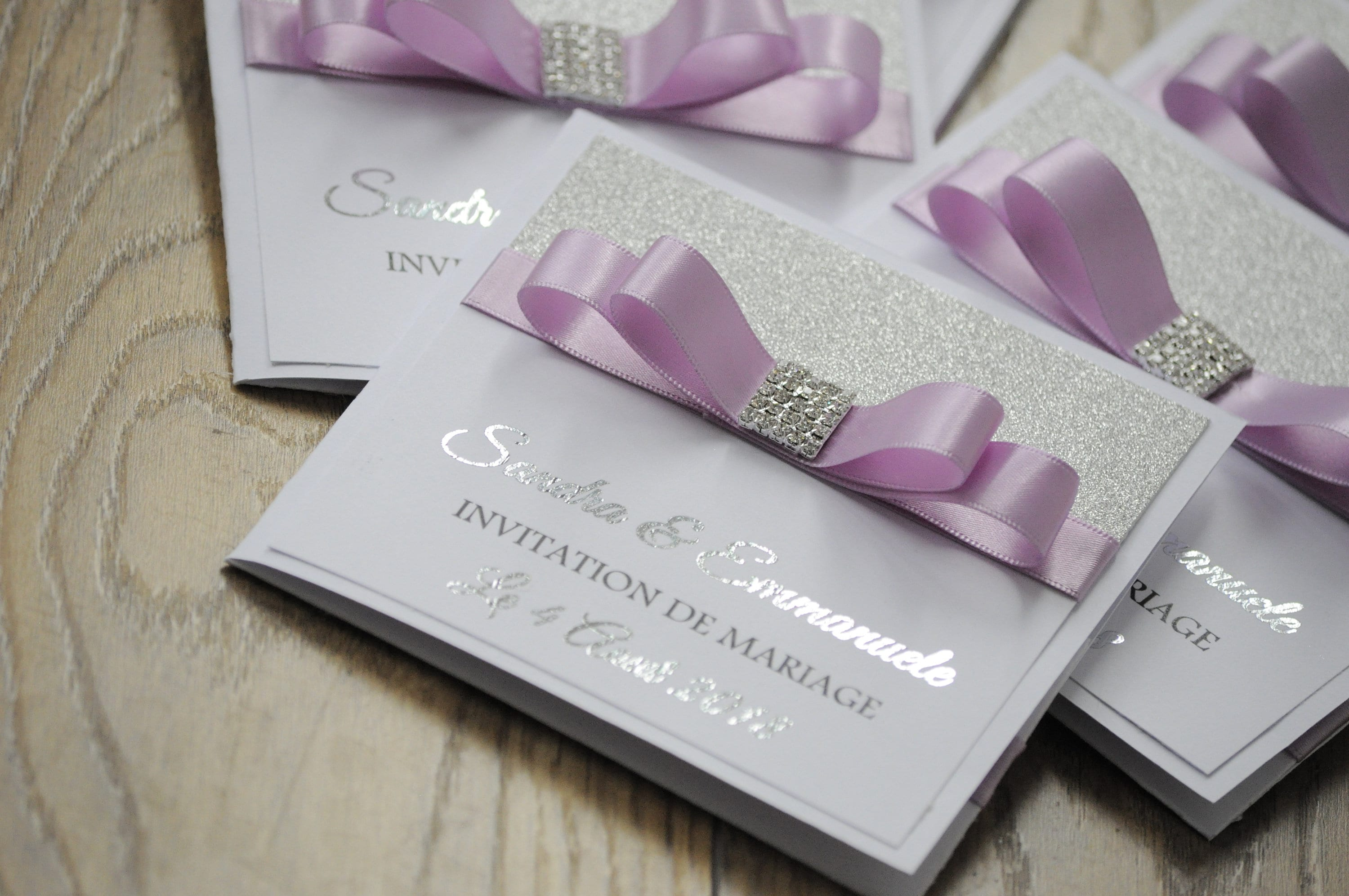Silver Foil & Lilac Ribbon Glitter Wedding Invitation
