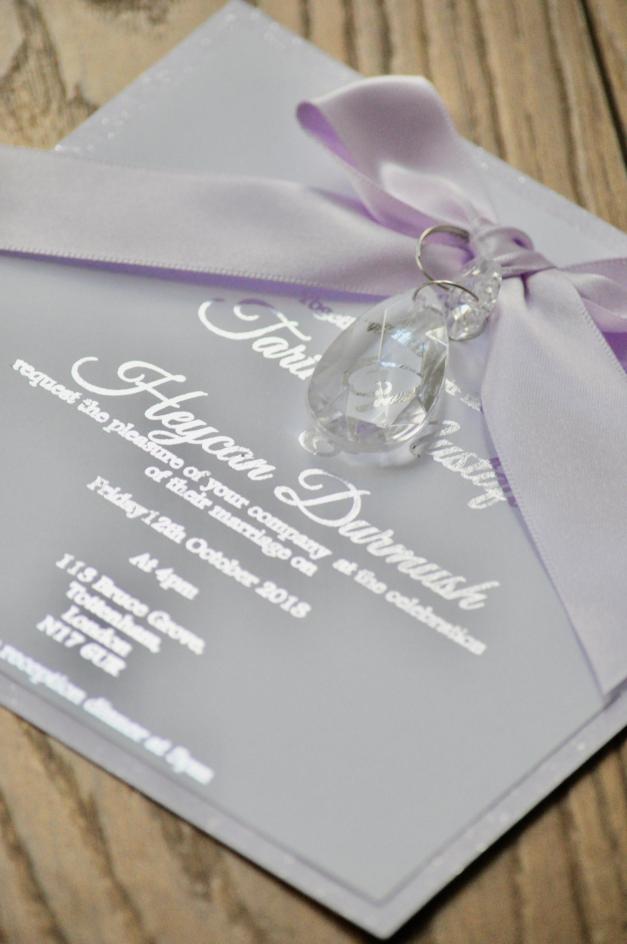 acrylic crystal droplet silver foiled invitation
