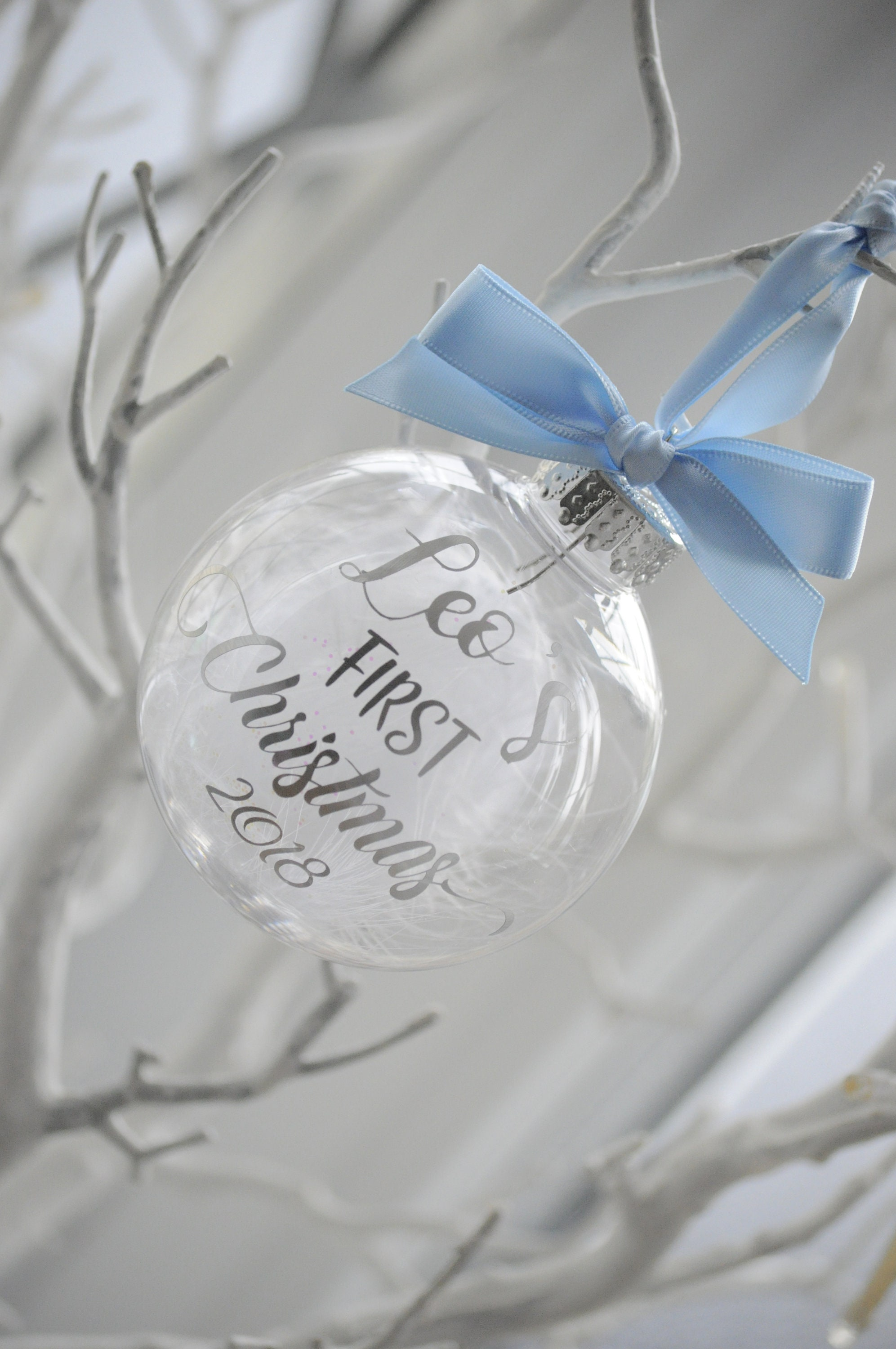 Personalised Baby S First Christmas Bauble Blue Ribbon Etsy
