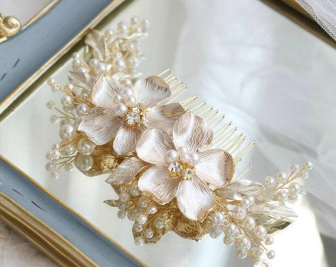 Featured listing image: Luxury Gorgeous White Enamel Flowers Bridal Hair Comb | Pearl Headdress |  Leaf Hair Accessories |  Wedding Headpiece | Bridesmaid Hair Comb