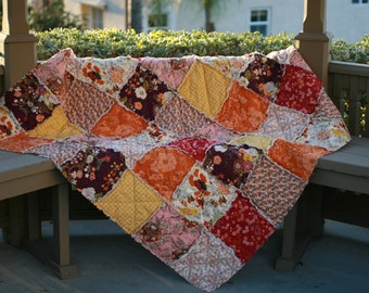 Twin Quilt - Full Quilt - Queen Quilt- King Quilt - Rag Quilt - Autumn Bedding -Fall Colors - Custom Bed Quilt - Rag Quilt Bedding