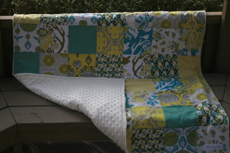 Dewberry owls Birch Farm Handmade Minky Patchwork Crib Quilt Plush and Cuddly lime READY to SHIP All Natural turquoise chartreuse