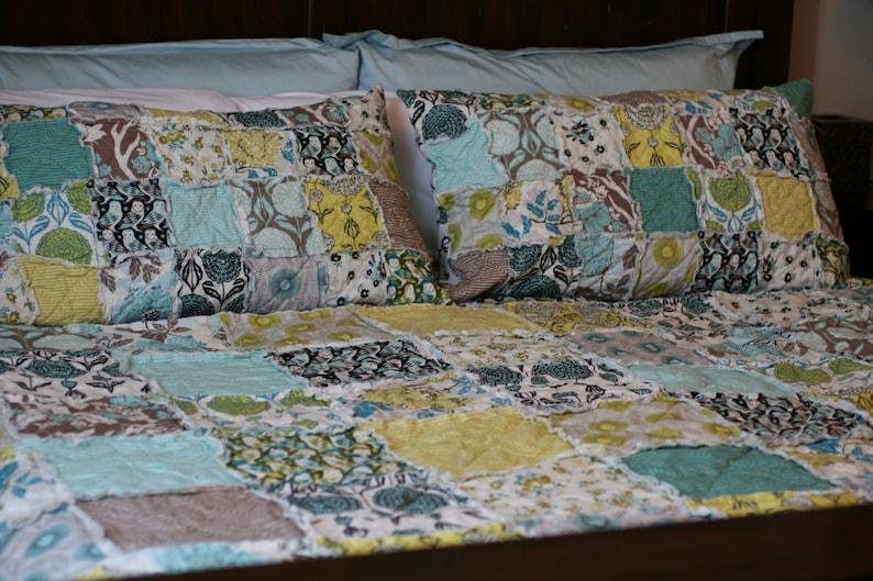You Choose Size Joel Dewberry Handmade Quilt Twin Quilt King Quilt Modern Quilt Rag Quilt Woodland Quilt Teal Quilt