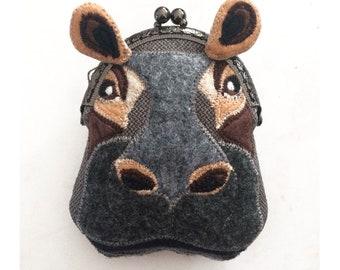 Hippopotamus Purse, Hippo Coin Purse, Purse, Felt Hippo Metal Frame Kisslock Coin Purse, Hippo Head, Change Purse with Snap, Purse Organizer