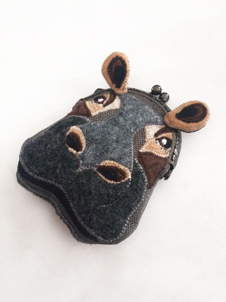 Hippopotamus Purse Change Purse with Snap Hippo Coin Purse Felt Hippo Metal Frame Kisslock Coin Purse Purse Organizer Purse Hippo Head