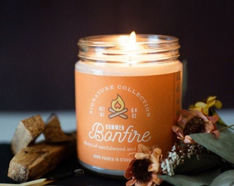 Summer Bonfire 9 oz Soy Candle, Campfire Candle, Campfire Scent, Bonfire scent, Bonfire candle, Firewood Candle, Camping Candle, Camper Gift