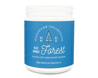 Blue Spruce 9 oz Candle, Blue Spruce, Holiday Candle, Spruce Candle, Winter Candle, Woodsy Candle, Spruce Tree Scent, Made in Wisconsin