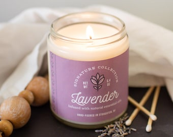 Lavender 9 oz Soy Candle, Lavender Soy Candle, Lavender, Lavender Candle Wedding Favors, Lavender Candle Tin, Lavender Candle Favors
