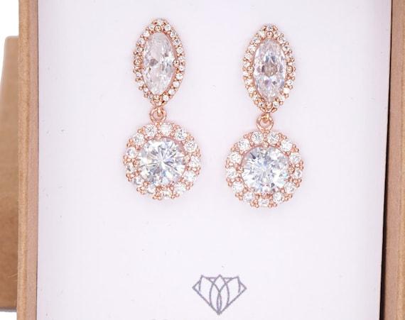 Luxe Rose Gold Cubic Zirconia Halo style Navette Teardrop dangle Earrings, Bridal Cubic Zirconia earrings wedding bridesmaid jewelry, Alcina