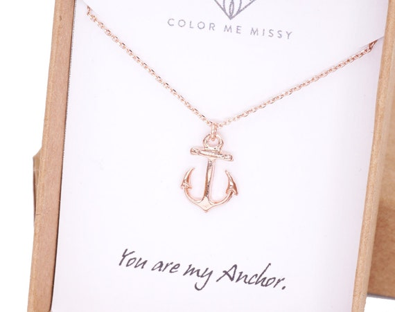 Lucky Rose Gold Anchor necklace - simple rose gold filled necklace with Anchor, Freshwater Pearl, best friends, sisters, mum, navy -N0008RG