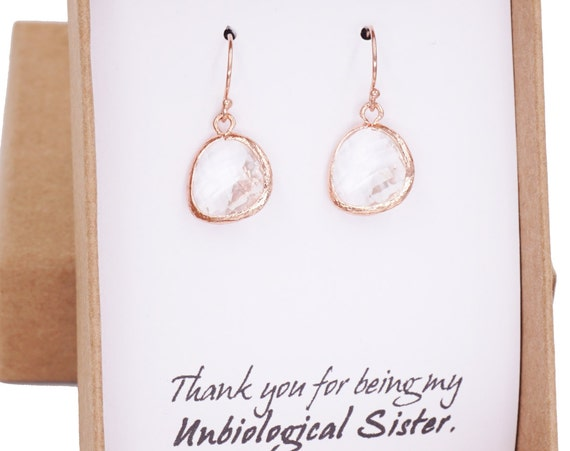 Rose Gold Round Glass drop Jewelry Set - Necklace, gifts for her, earrings, bridal gifts, pink rose gold weddings, bridesmaid jewelry