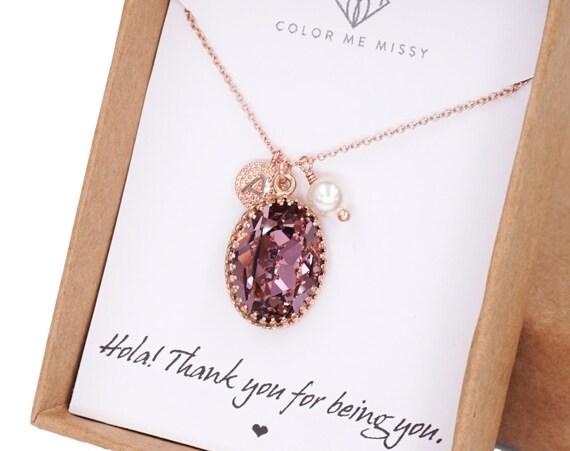 Rose Gold FILLED Swarovski Antique Pink Oval Crystal Necklace, blush pink wedding bridal, bridal bridesmaid gifts, pink gold weddings