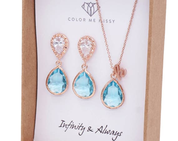 Rose Gold Aquamarine Blue Teardrop Rose Gold FILLED Personalised letter Necklace Earrings - Wedding Bridesmaid bridal shower gifts weddings