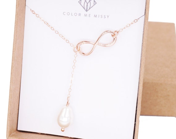 Rose Gold Infinity and Teardrop Pearl Lariat, Y Necklace, Forever Love, sister, best friends, mom, Mother of Pearl Necklace, Pink Gold