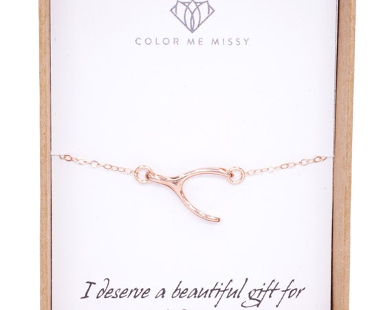 BRACELET Wishbone Rose Gold FILLED bracelet - simple bracelet necklace with wishbone, luck, best friends, chic, simple, sister