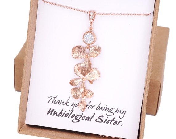 Rose Gold Orchid Rose Gold FILLED Necklace, Flower Wedding Bridal Bridesmaid brides Boho Garden weddings Crystal jewelry, Rosamunde