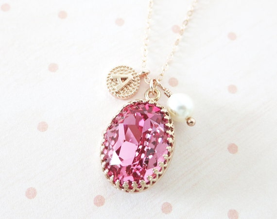 Rose Gold FILLED Swarovski Rose Peach Pink Oval Crystal Necklace, blush pink wedding bridal, bridal bridesmaid gifts, pink gold weddings