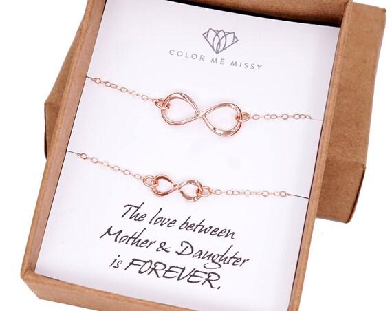 Mother & Daughter Infinity Bracelet Set - Rose Gold Infinity charm, rose gold filled, forever love, mom, mum, daughter, children - B0006RG