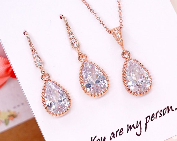 Rose Gold Cubic Zirconia Rose Flower Teardrop Necklace - gifts for her, bridal gifts, drop, dangle, pink gold weddings, bridesmaid necklace