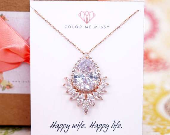Rose Gold FILLED Cubic Zirconia Teardrop Necklace - weddings brides bridesmaid bridal shower Christmas gifts her crystal personalised N259