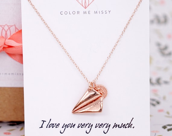 Personalised Rose Gold Paper Airplane Initial Letter necklace -  simple rose gold FILLED chain with paper airplane, Childhood, Best friends