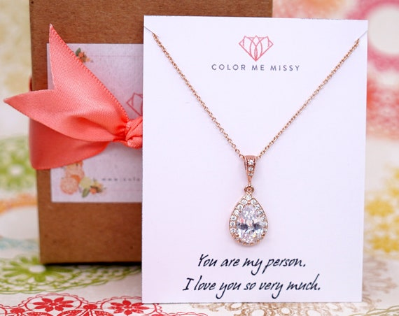 Rose Gold FILLED Cubic Zirconia Teardrop Necklace - weddings brides bridesmaid bridal shower Christmas gifts her crystal personalised N262